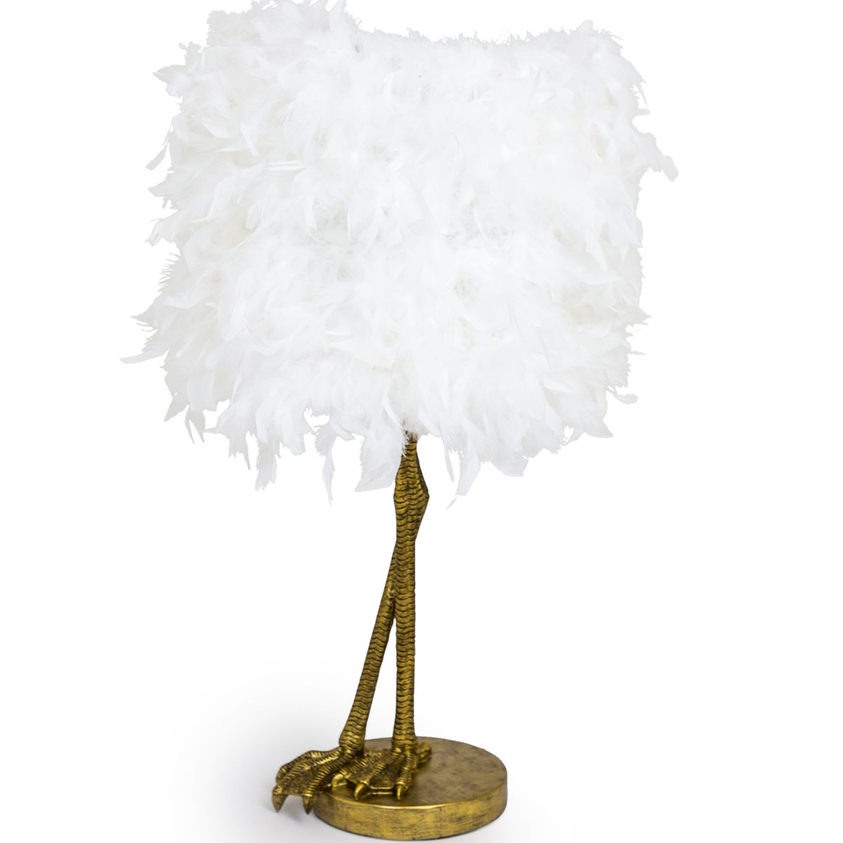 Bird Leg Lamp Gold with White Feather Shade 79 x 40 x 40 cm