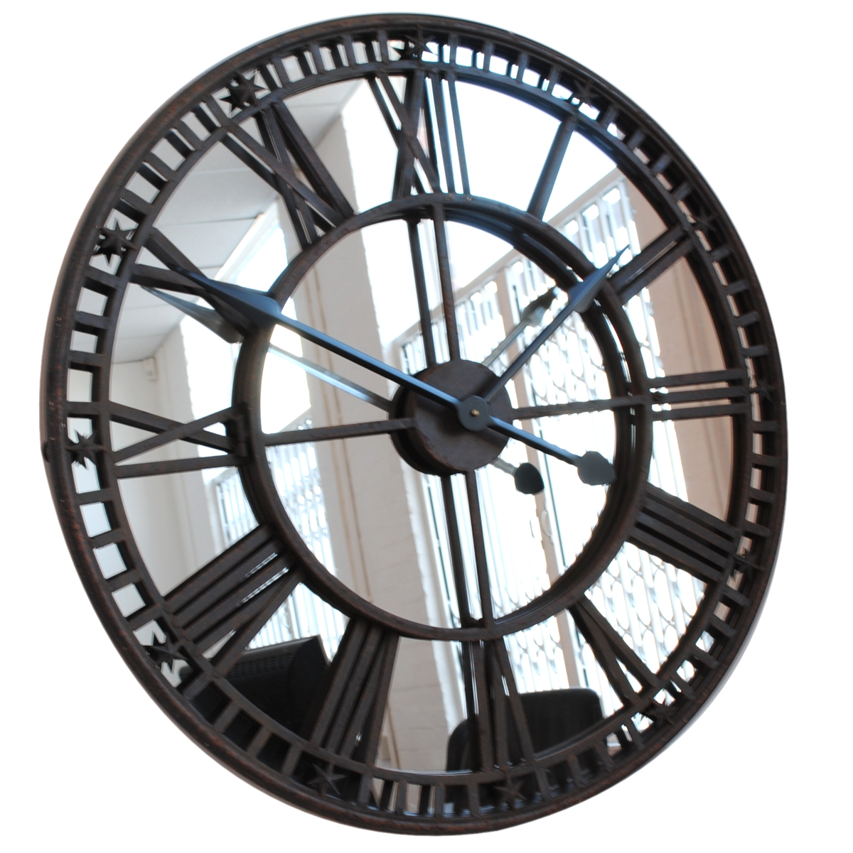 Antique mirror iron roman skeleton wall clock - Large roman numeral wall clocks ...