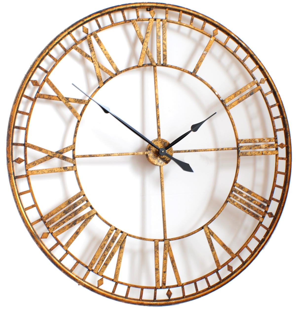 large roman giant vintage gold skeleton wall clock. Black Bedroom Furniture Sets. Home Design Ideas