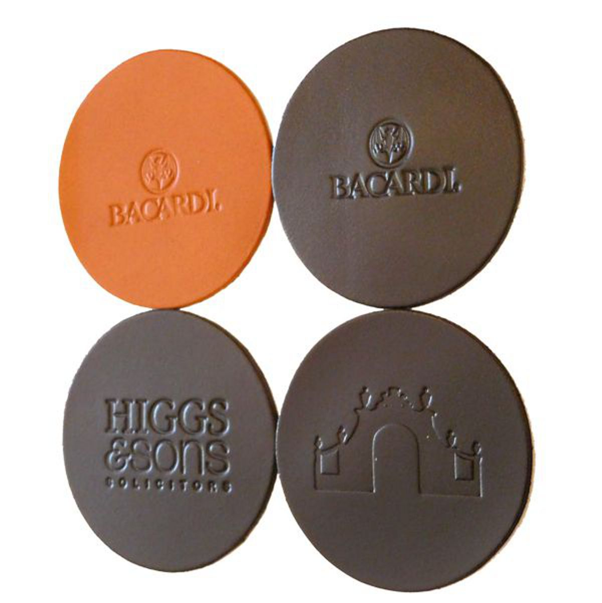 Embossed Debossed Real Leather Coasters Custom Round Coasters x 10 with Logo