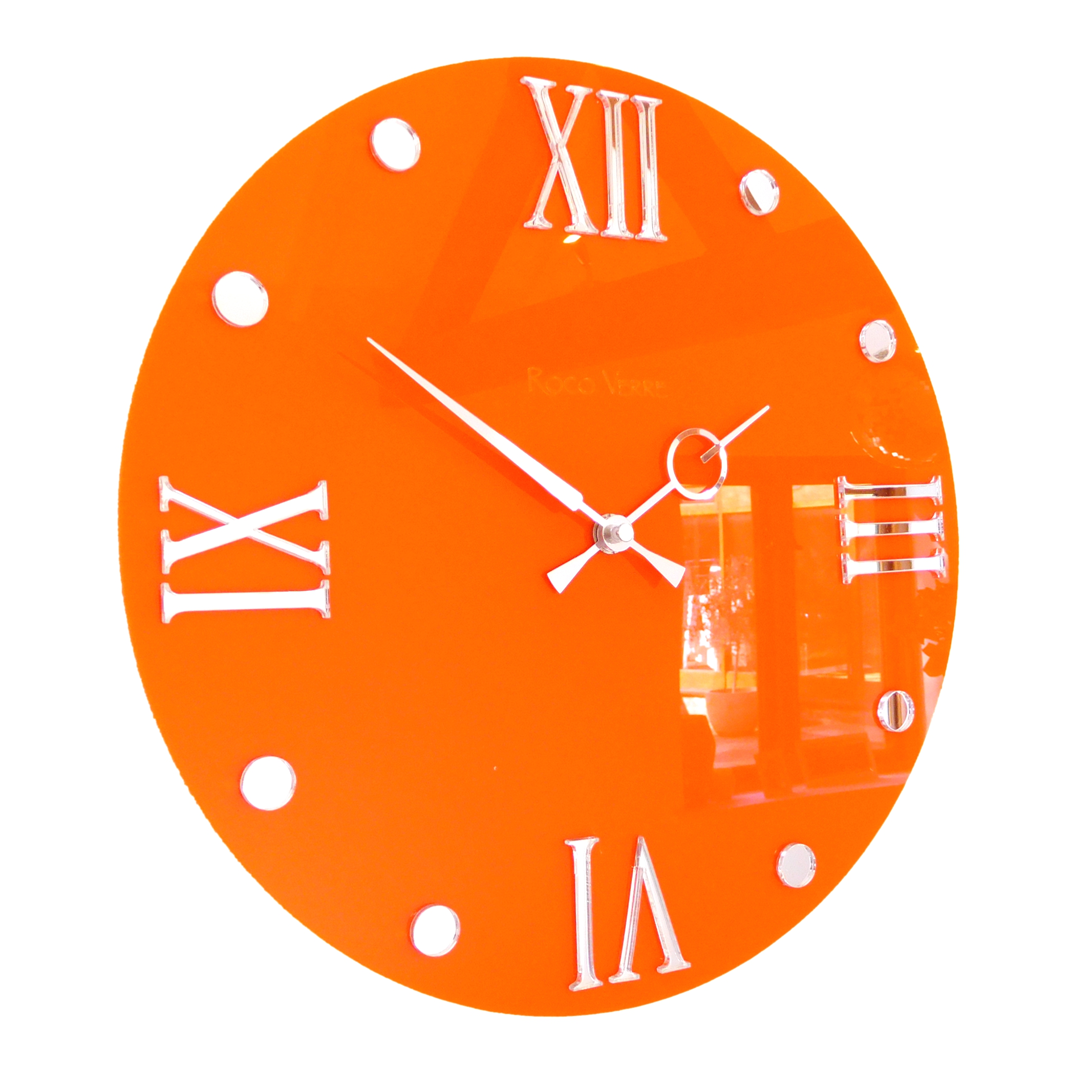 Roco Verre Round Retro Roman Gloss Wall Clock Gloss Orange 30cm Dia (12)