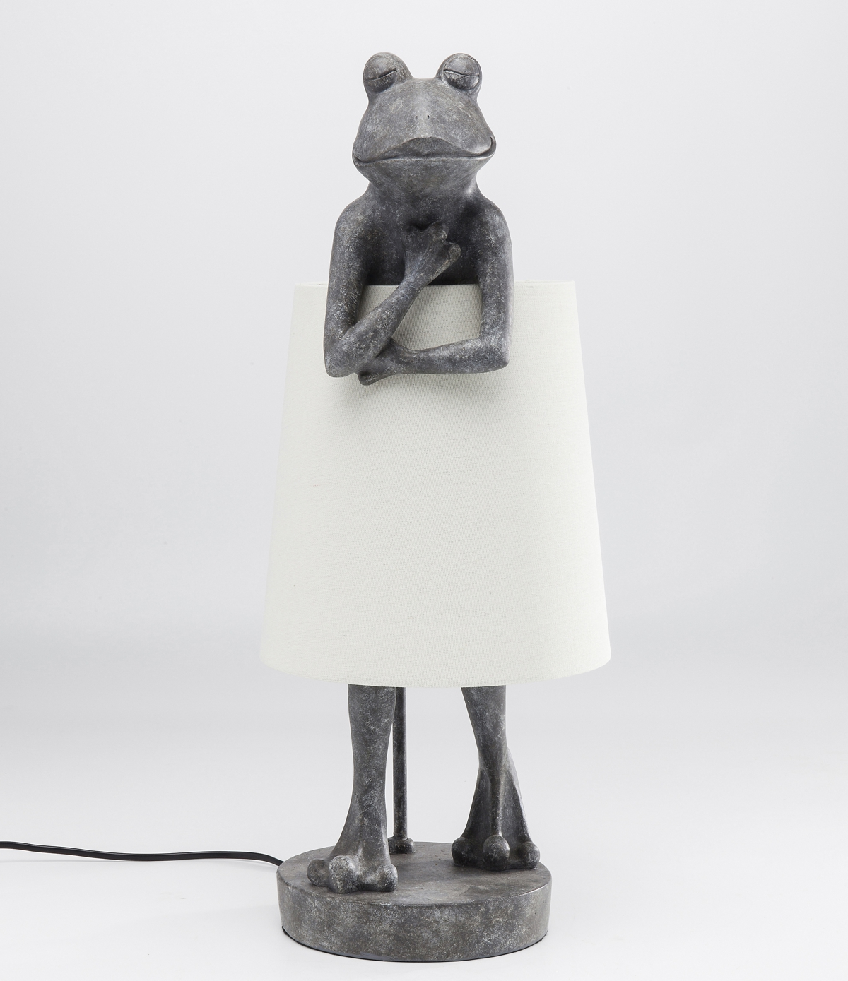 Frog Table Lamp With White Shade H58 x W23 x D29 cm