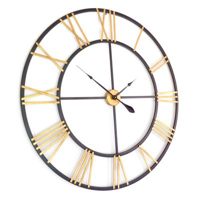 New Haven Gold and Black Skeleton Wall Clock  105cm (41) Diameter