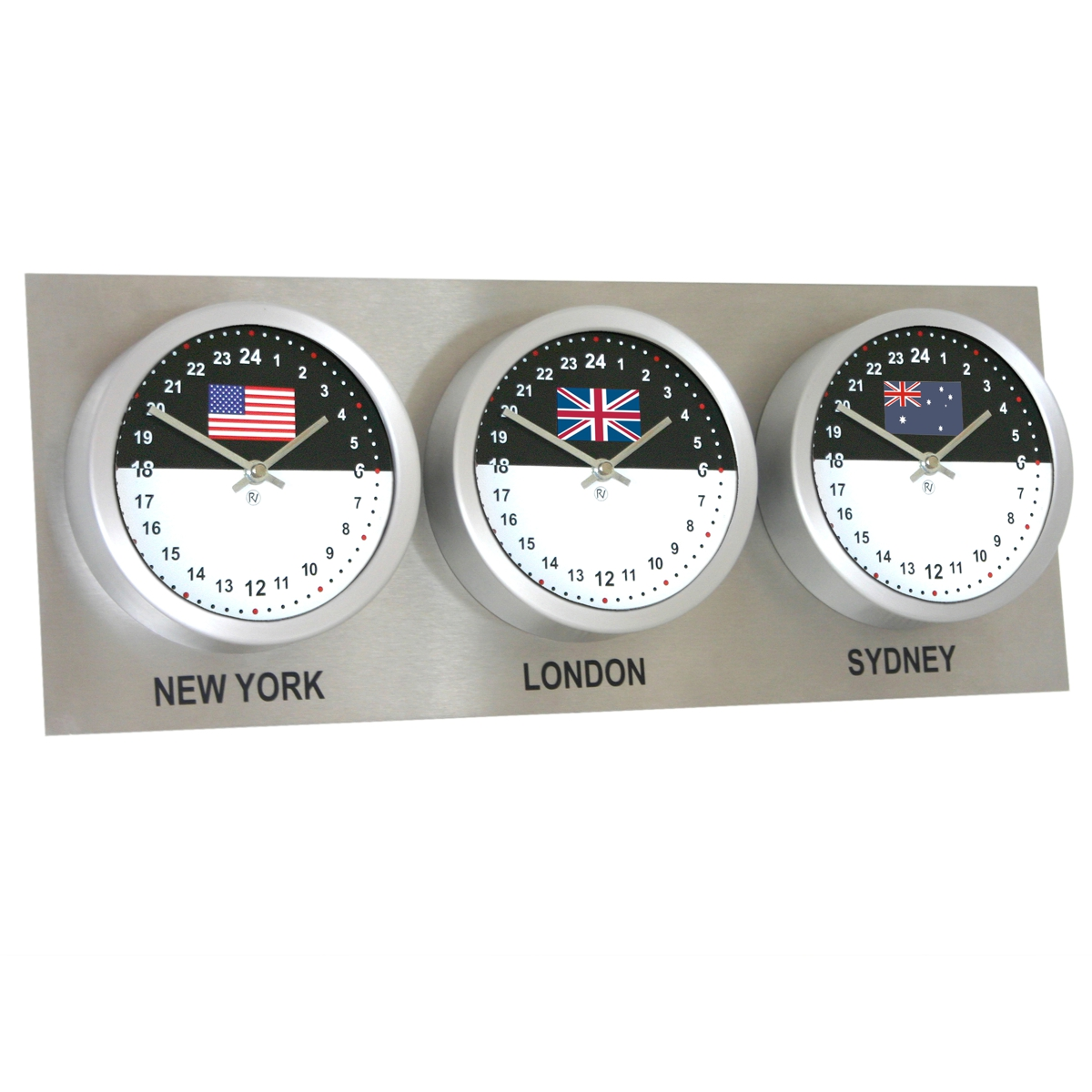 Roco Verre Custom World 3 18cm Flag Clocks Steel H25cm x L62cm x D6cm