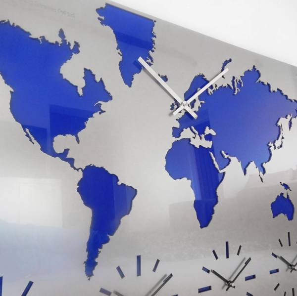 Roco Verre Extra Large Acrylic Map Timezone Clock STANDARD EXTRA LARGE BLUE
